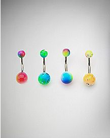 Rainbow Splatter Belly Ring 4 Pack - 14 Gauge