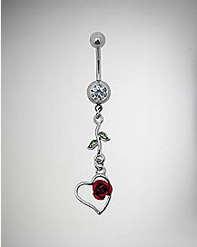 Rose Heart Dangle Belly Ring - 14 Gauge