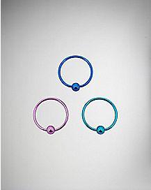 20 Gauge Teal Blue Pink Nose Ring 3 Pack