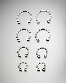 Horseshoe Septum Rings 8 Pack - 16 Gauge
