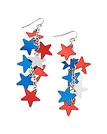 Star Dangle Earrings - Red White Blue