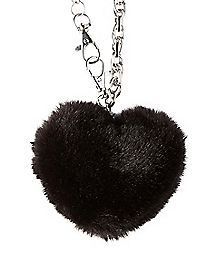 Puff Ball Wallet Chain - Black & Silver