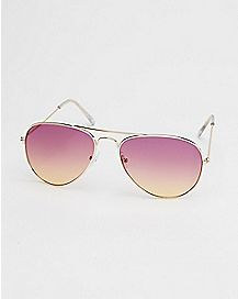 Fade Aviator Sunglasses- Gold Purple