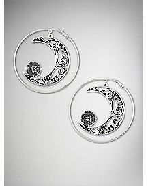 Ornate Moon Hoop Earrings