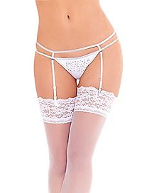Rhinestone G String Panty Set- White