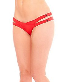 Overlay Snap-on Thong Panties - Red