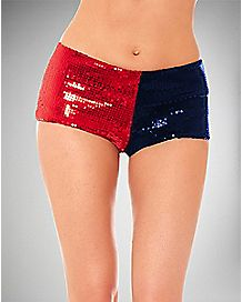 Sequin Booty Short Panties - Red and Blue