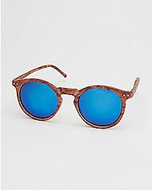 Wood Blue Lens Round Sunglasses