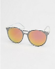 Striped Round Lens Sunglasses