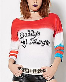 Daddys Lil Monster Harley Quinn Raglan T Shirt - Suicide Squad