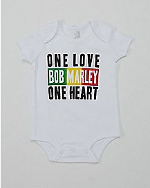 One Love One Heart Bob Marley Baby Bodysuit