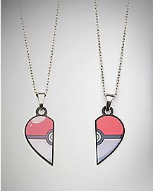 Heart Best Friends Pokeball Pokemon Necklace