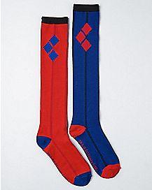 Blue Red Harley Quinn Suicide Squad Knee High Socks