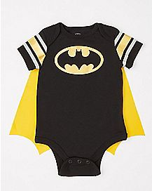 Striped Sleeve Caped Batman Baby Bodysuit