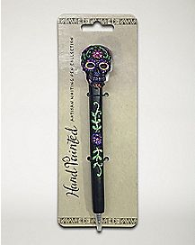 Purple Metallic Sugar Skull Pen