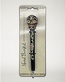 Black Metallic Sugar Skull Pen
