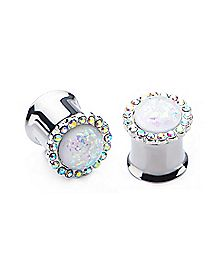 White Opal-Effect Gem Double Flare Plugs