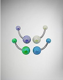 14 Gauge Pearlized Barbell Belly Ring 4 Pack
