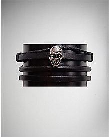 Skull Charm Twist Faux Leather Bracelet