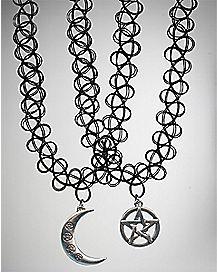 Moon Pentagram Tattoo Choker Necklace 2 Pack