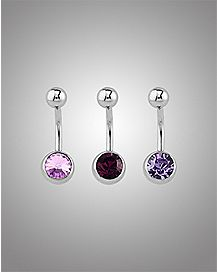 Purple Stone Belly Ring 3 Pack - 14 Gauge