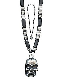 Industrial Skull Beaded Necklace