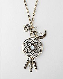 Sun Moon Dream Catcher Necklace