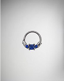 Blue CZ Seamless Spetum Ring - 16 Gauge