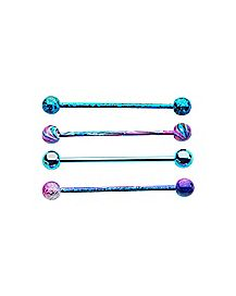 14 Gauge Blue Purple Splatter Industrial Barbell - 4 Pack
