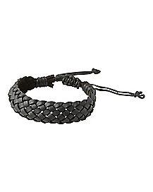 Black Braided Faux Leather Bracelet