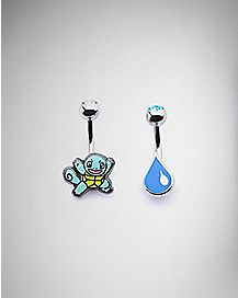 Squirtle Pokemon Belly Ring 2 Pack - 14 Gauge