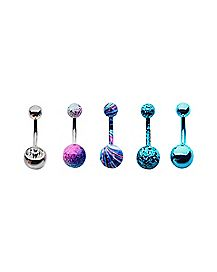 Glitter CZ Belly Ring 5 Pack - 14 Gauge