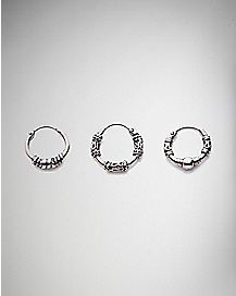 Ornate Clicker Septum Nose Ring 3 Pack - 16 Gauge