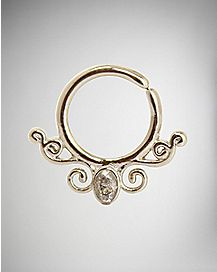 Filgree CZ Seamless Septum Ring - 16 Gauge