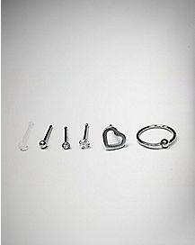 Heart Nose Stud & Ring 6 Pack - 20 Gauge
