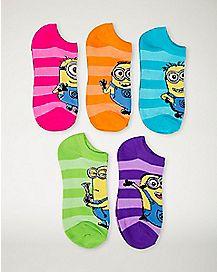 Bright Minions Despicable Me No Show Socks 5pk