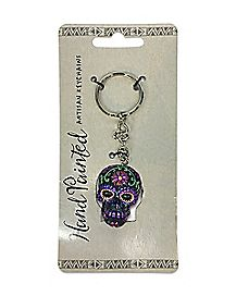 Handpainted Sugar Skull Key Chain Purple