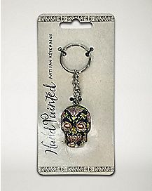 Metal Skull Keychain- Black and Pink