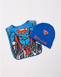 Superman Baby Hat & Bib Set