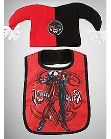 Harley Quinn Baby Hat & Bib Set