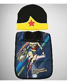 Wonder Woman Baby Hat & Bib Set