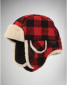 Faux Fur Plaid Black And Red Baby Trapper Hat