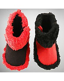 Reversible Harley Quinn Faux Fur Baby Boots