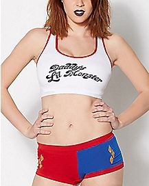 Daddys Little Monster Suicide Squad Sports Bra Panty Set