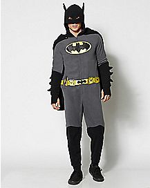 Batman Adult Dropseat Hooded One-Piece Pajamas - DC Comics