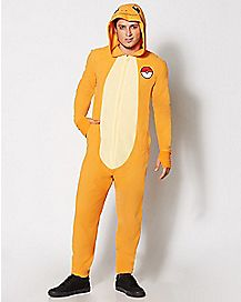 Adult Hooded Dropseat Charmander Pokemon One-Piece Pajamas
