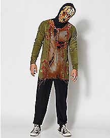Adult Hooded Drop Seat Jason Friday the 13th One-Piece Pajamas