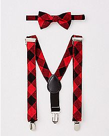 Plaid Baby Bowtie and Suspender Set