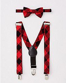 Plaid Bowtie and Suspender Set