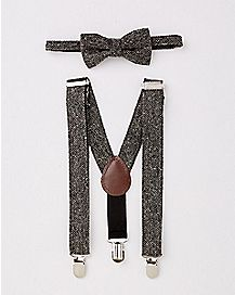 Grey Baby Bowtie and Suspender Set
